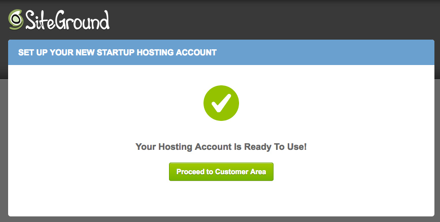 Last step for setting up website hosting with SiteGround