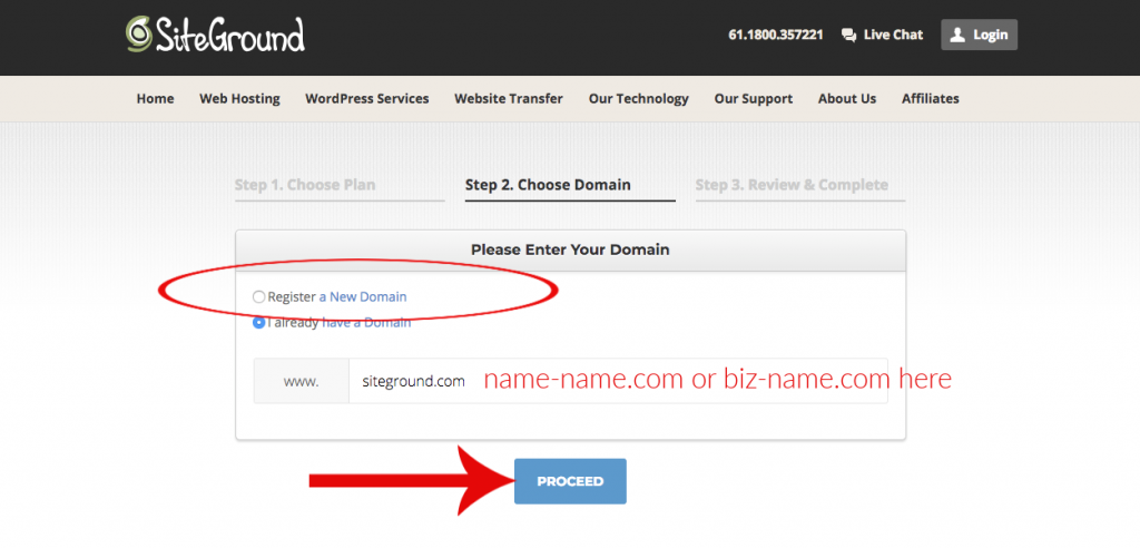 step 2 in SiteGround for setting up hosting