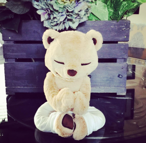 meddy teddy in easy sitting yoga pose