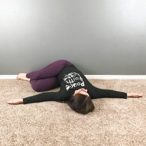 yin yoga wall sequence reclined twist